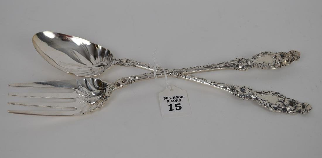 Whiting Sterling Silver Seving Fork and Spoon. Lily