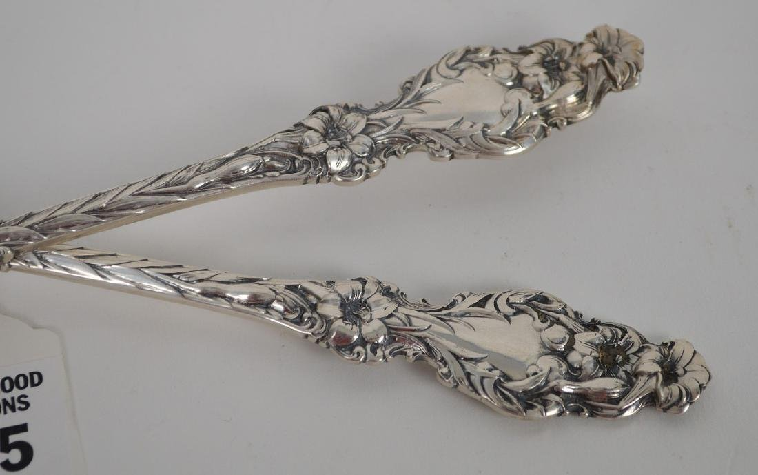 Whiting Sterling Silver Seving Fork and Spoon. Lily - 2