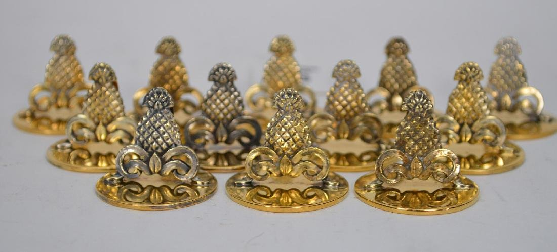 12 Tiffany Sterling Pineapple Form Place Card Holders. - 2