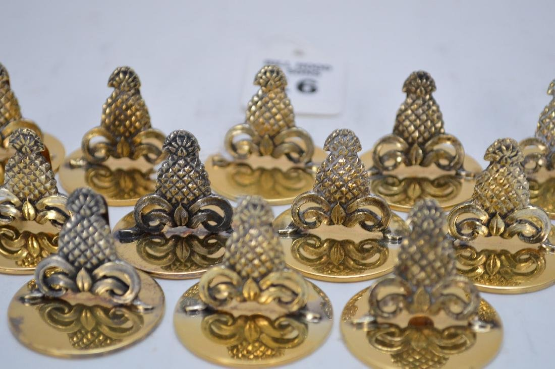 12 Tiffany Sterling Pineapple Form Place Card Holders. - 3