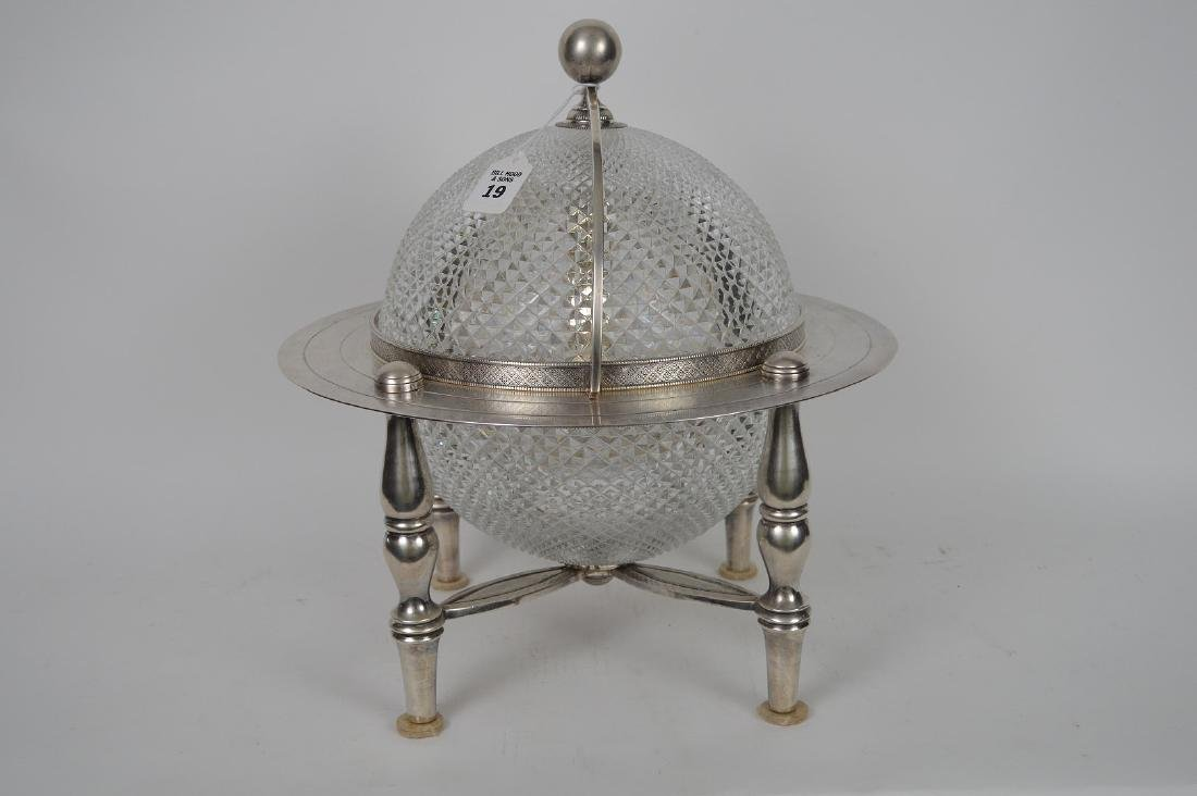 Silver Plate & Crystal Globe Form Tantalus / Ice