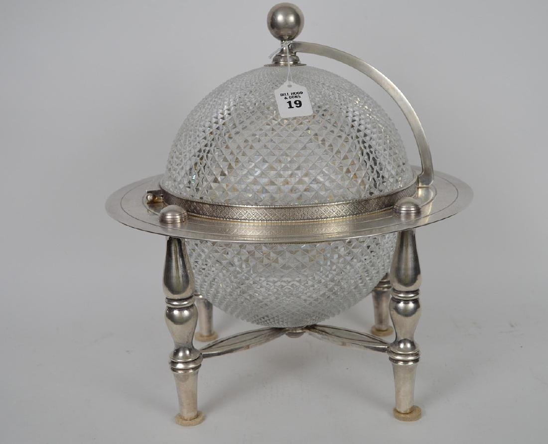 Silver Plate & Crystal Globe Form Tantalus / Ice - 3