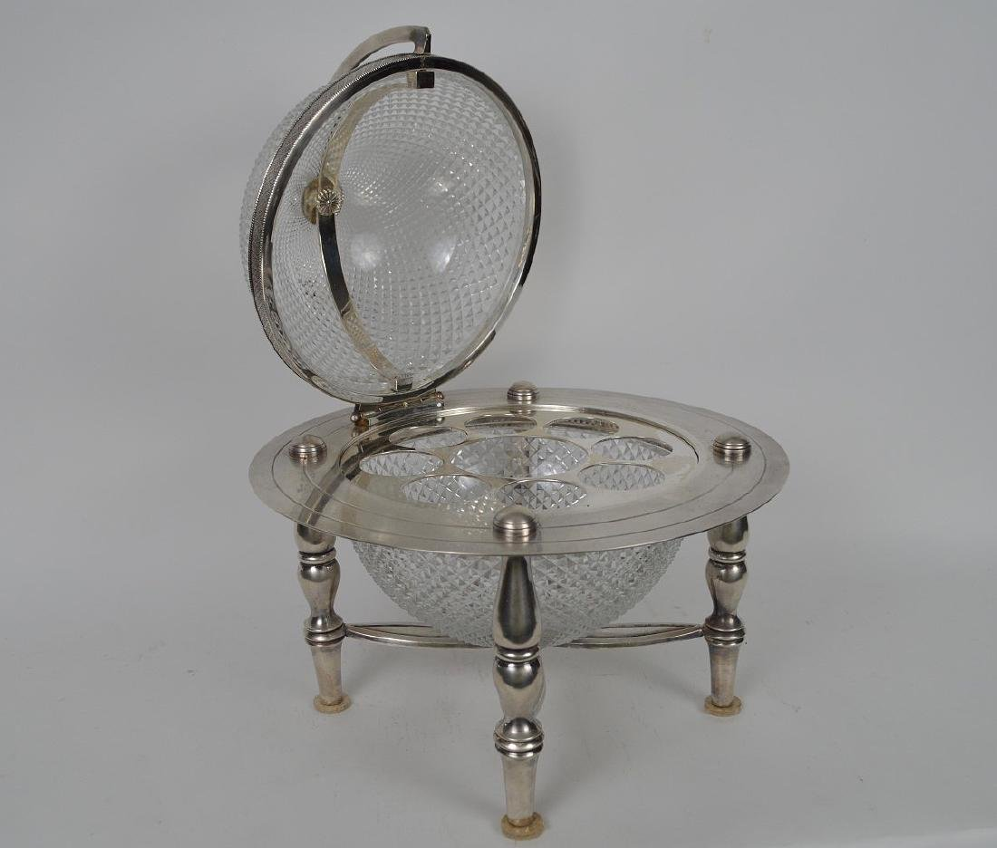 Silver Plate & Crystal Globe Form Tantalus / Ice - 4