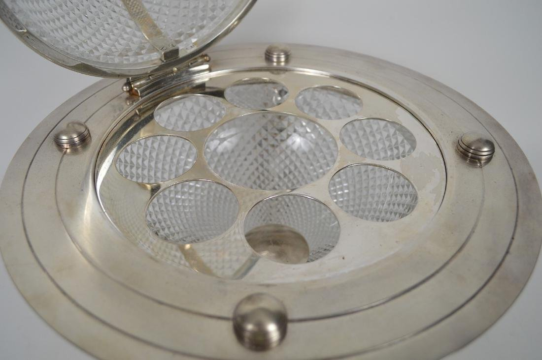 Silver Plate & Crystal Globe Form Tantalus / Ice - 5