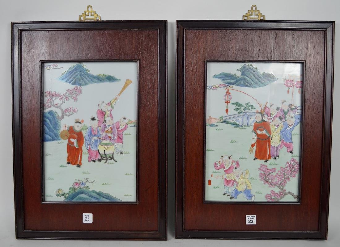 Pair Famed Chinese Porcelain Plaques each with famille