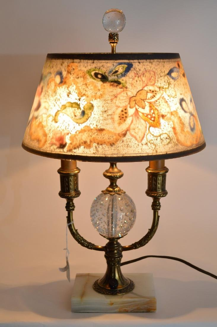 Pairpoint lamp, all  original reverse painted shade on