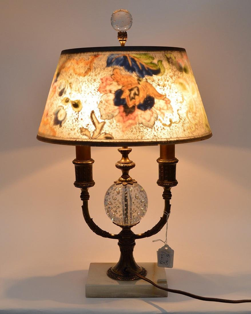 Pairpoint lamp, all  original reverse painted shade on - 2