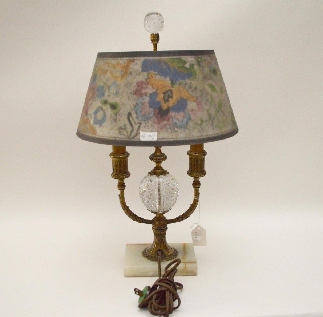 Pairpoint lamp, all  original reverse painted shade on - 6