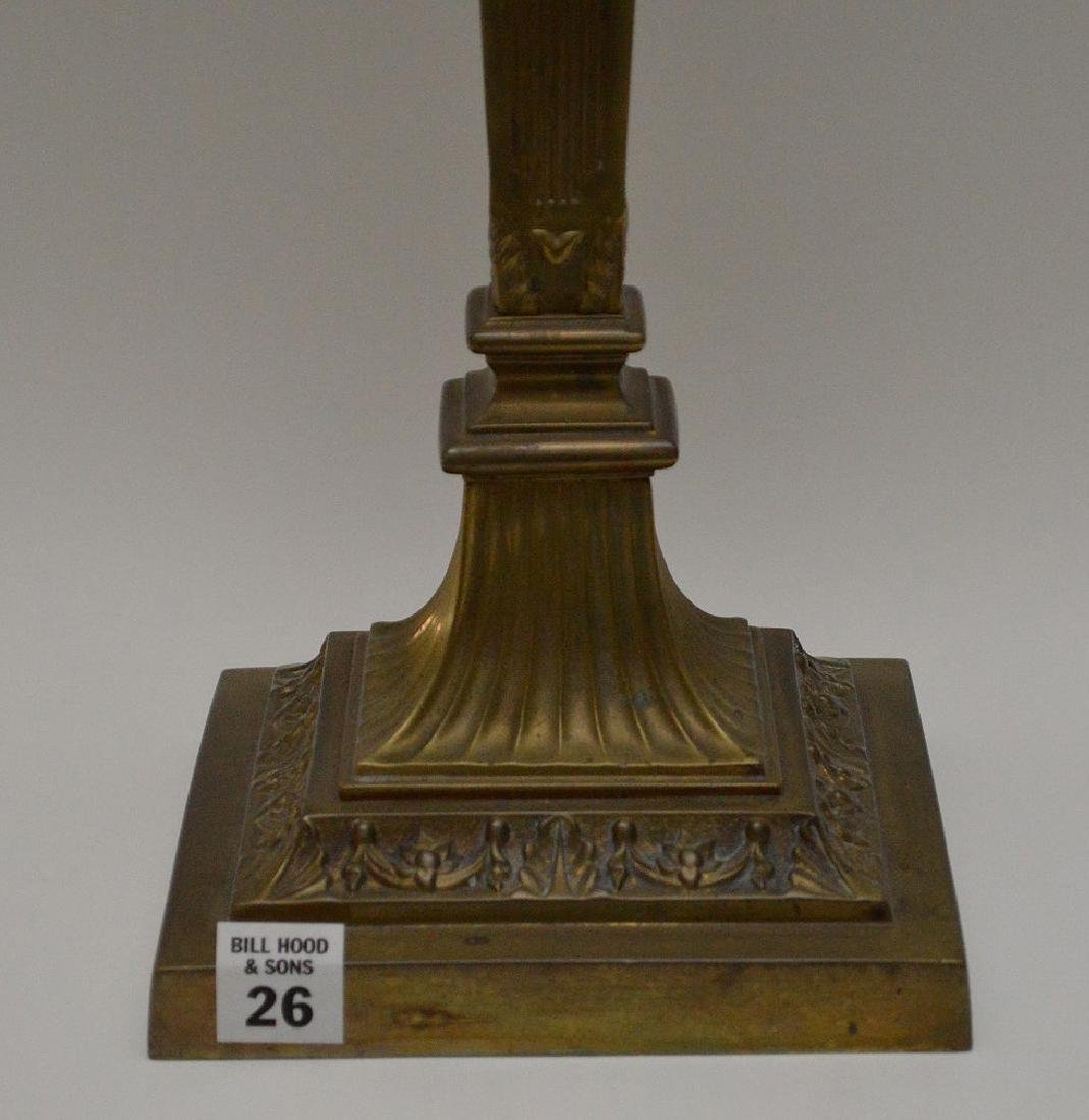 19th c. bronze column lamp with painted floral glass - 2