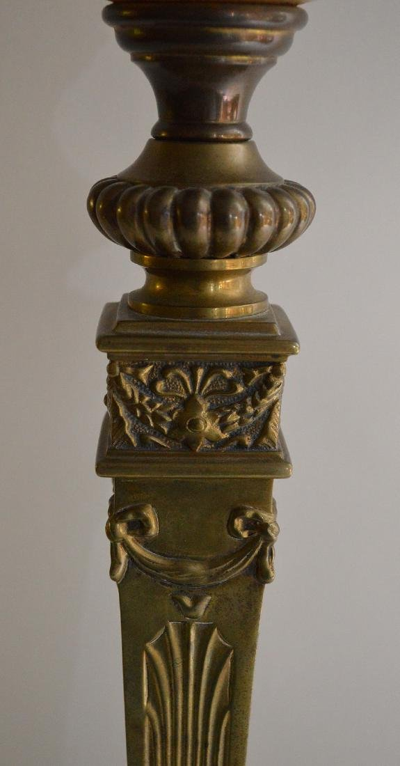 19th c. bronze column lamp with painted floral glass - 3