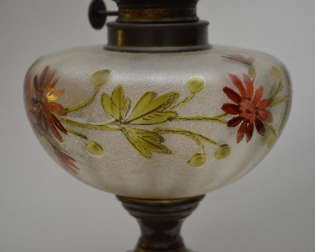 19th c. bronze column lamp with painted floral glass - 4