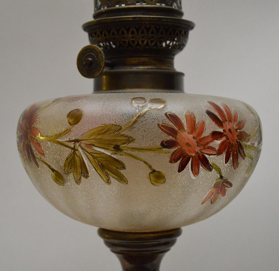 19th c. bronze column lamp with painted floral glass - 5