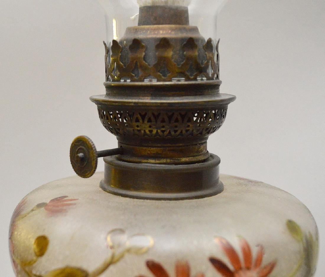 19th c. bronze column lamp with painted floral glass - 6
