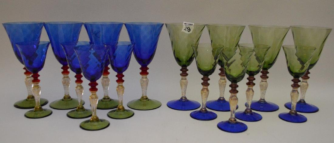 """8 Murano colored water goblets (7 1/2""""h) and 8 Murano"""