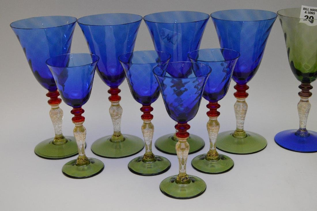 """8 Murano colored water goblets (7 1/2""""h) and 8 Murano - 3"""