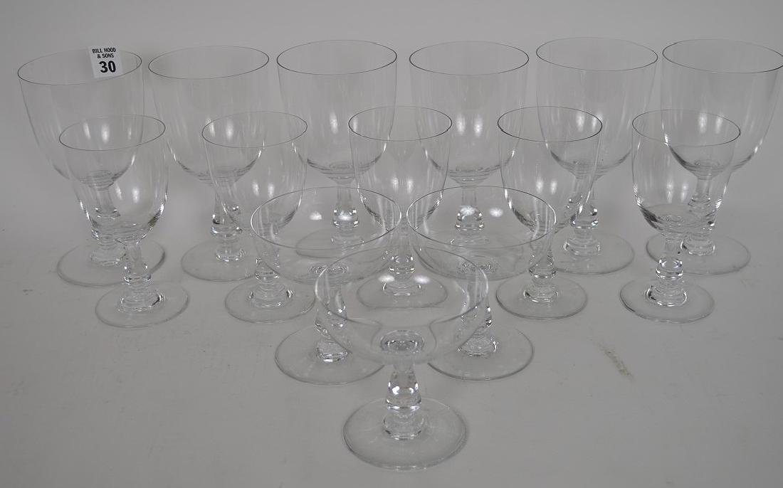 """13 signed Baccarat assorted stems, 4""""h, 5 1/2""""h and 6"""
