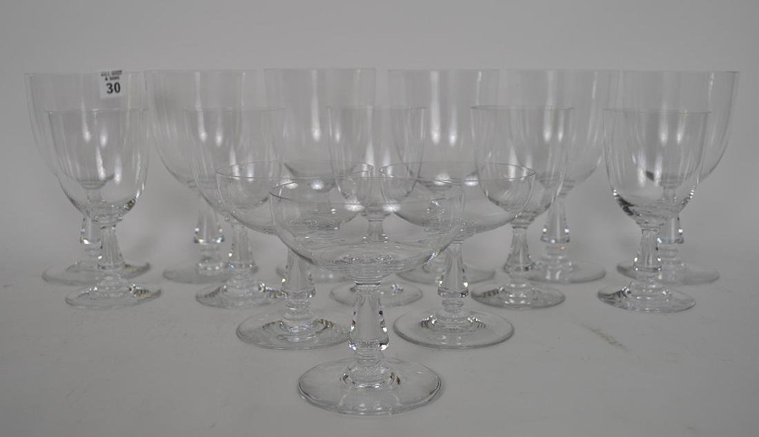 """13 signed Baccarat assorted stems, 4""""h, 5 1/2""""h and 6 - 2"""