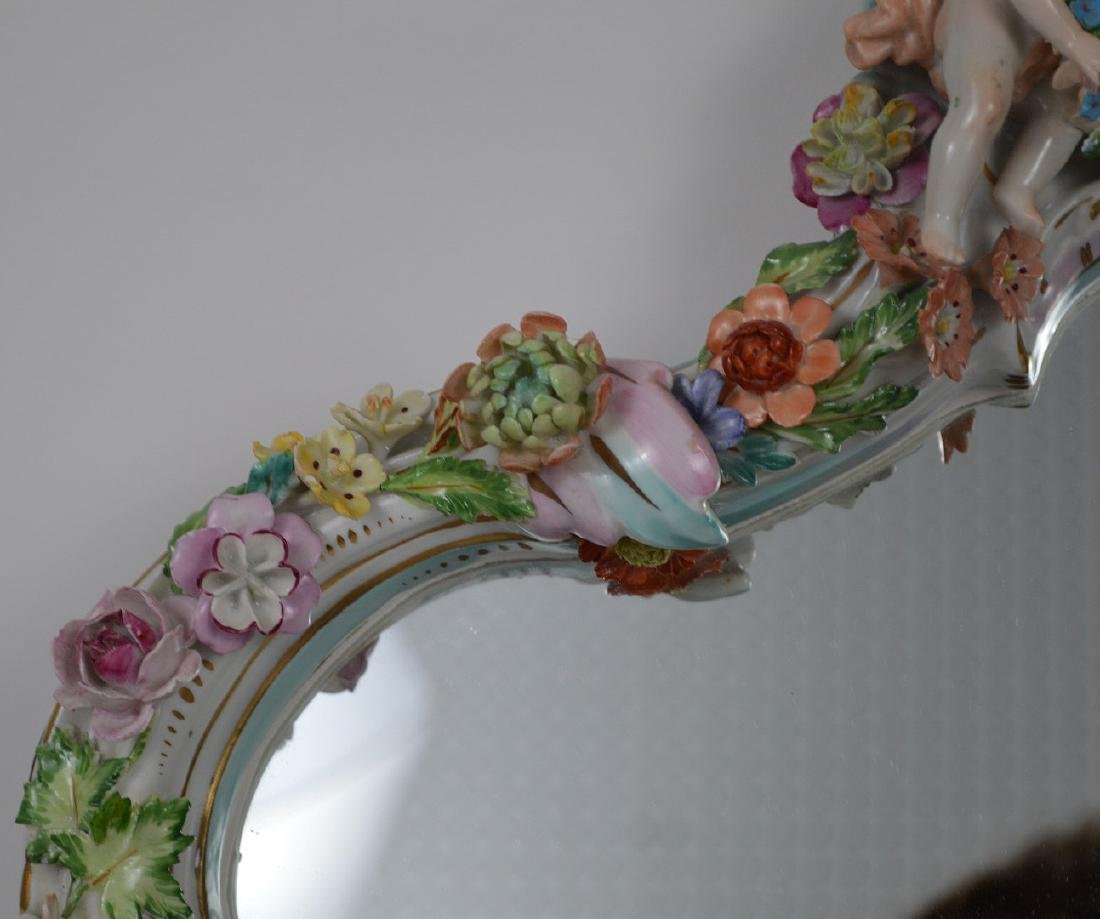Capodimonte style framed mirror with cupids & flowers, - 3
