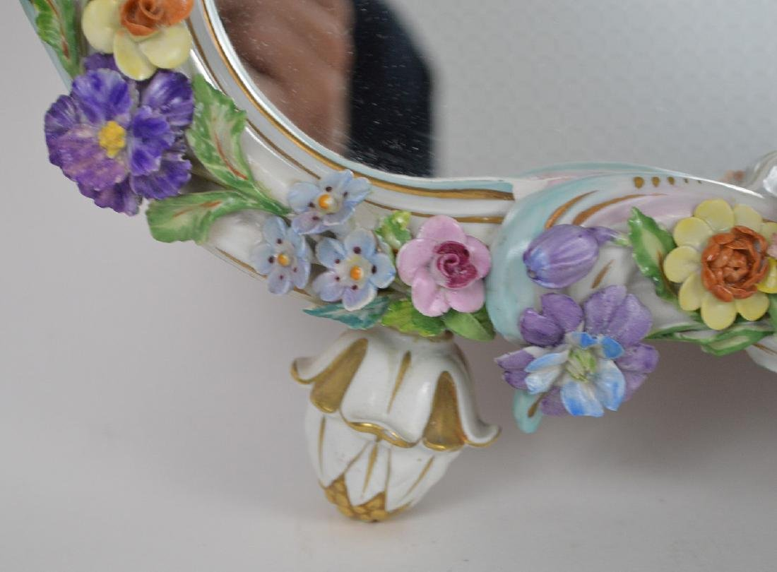 Capodimonte style framed mirror with cupids & flowers, - 6