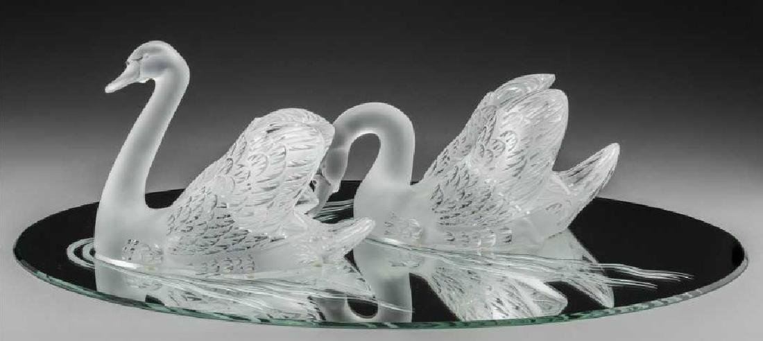 Pair of Lalique Glass Swans on Mirrored Plateau - 2