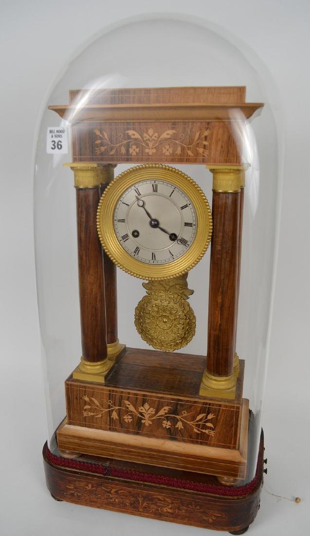 Portico clock, mahogany inlay with bronze accents,