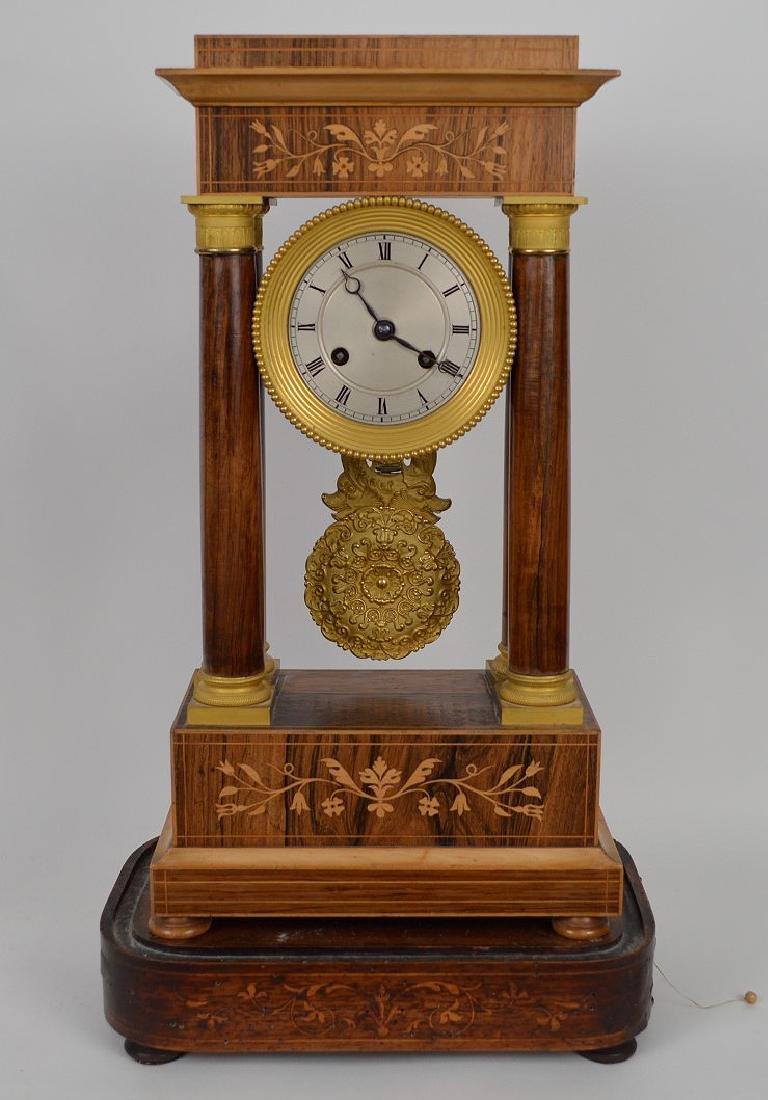 Portico clock, mahogany inlay with bronze accents, - 2