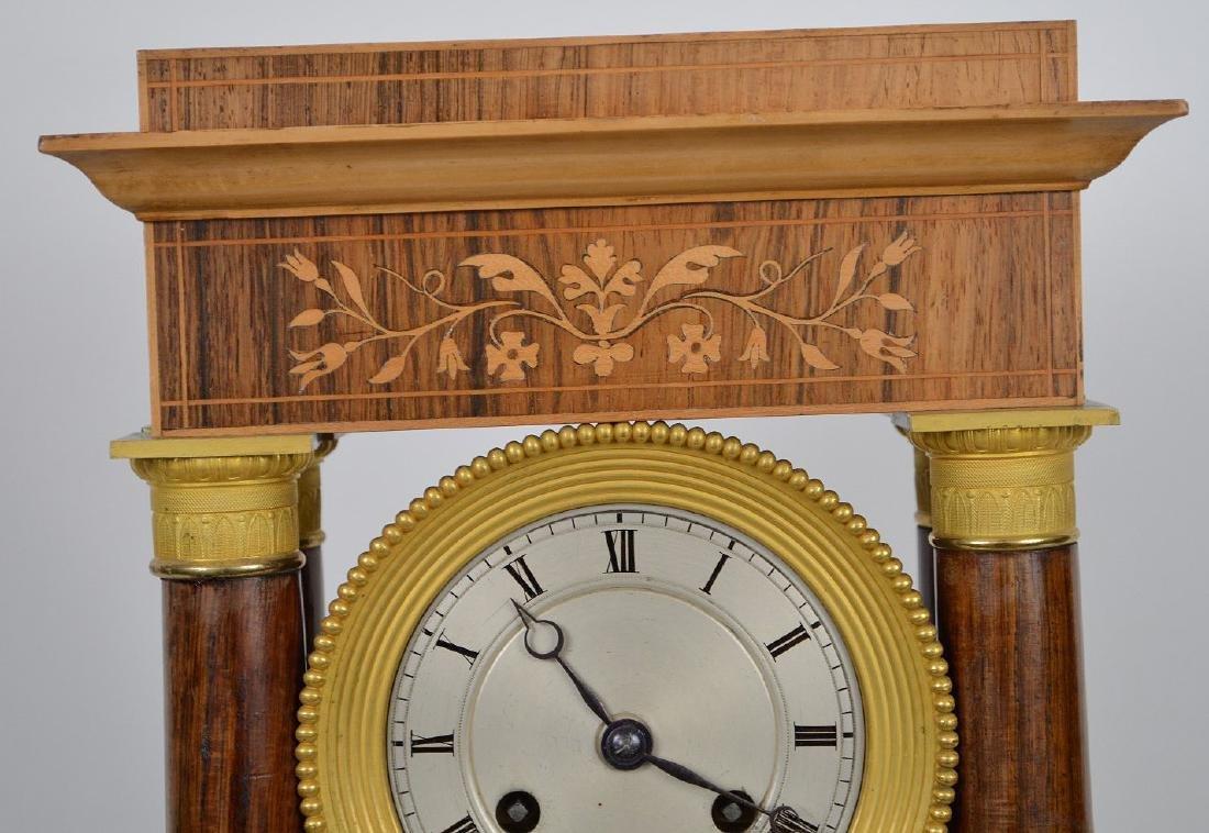 Portico clock, mahogany inlay with bronze accents, - 3