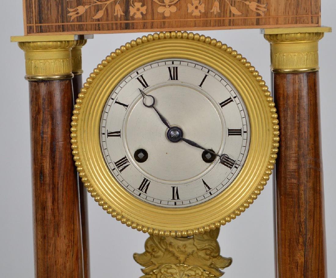 Portico clock, mahogany inlay with bronze accents, - 4