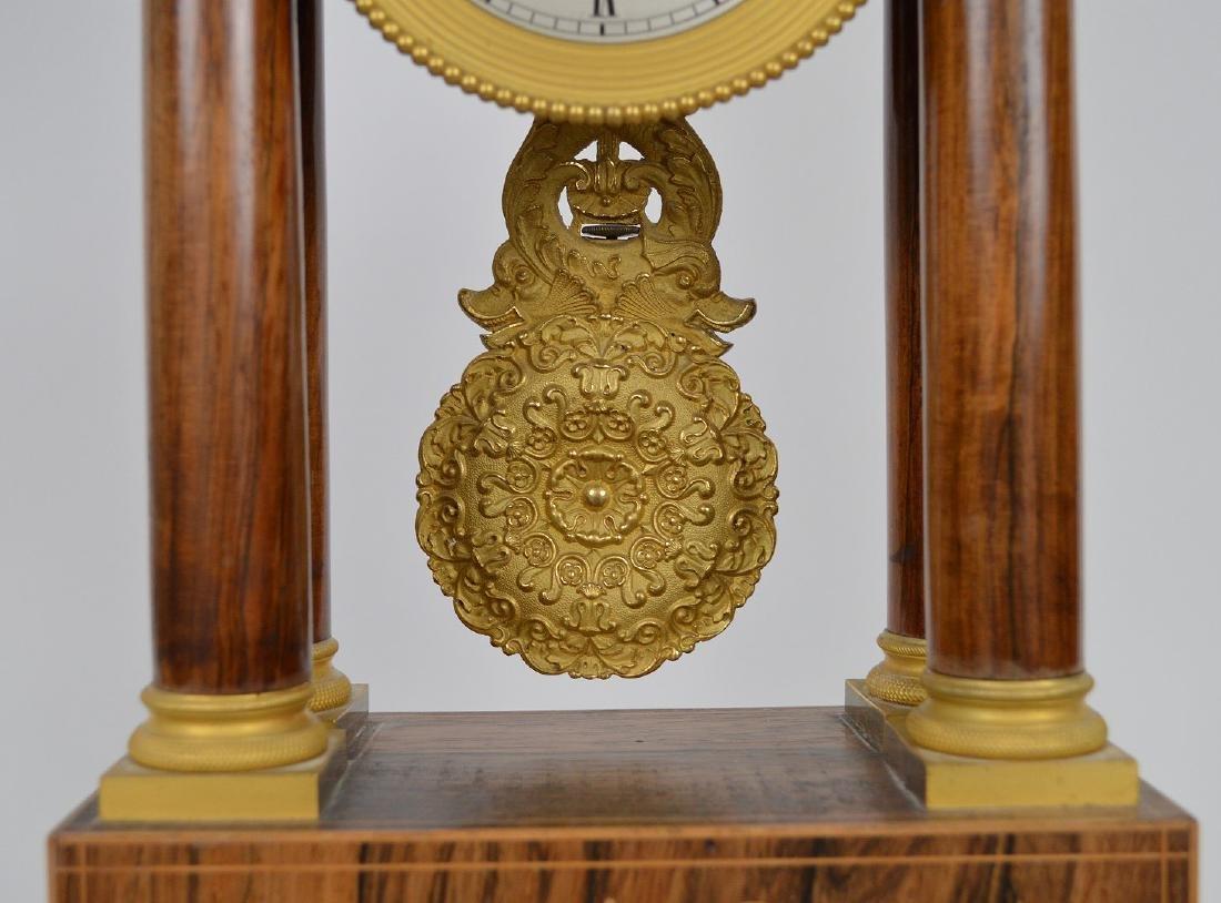 Portico clock, mahogany inlay with bronze accents, - 5