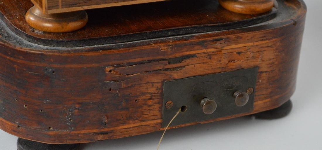 Portico clock, mahogany inlay with bronze accents, - 9