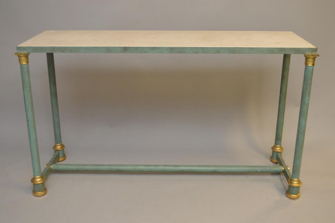 French style modern console, verdigris column legs with
