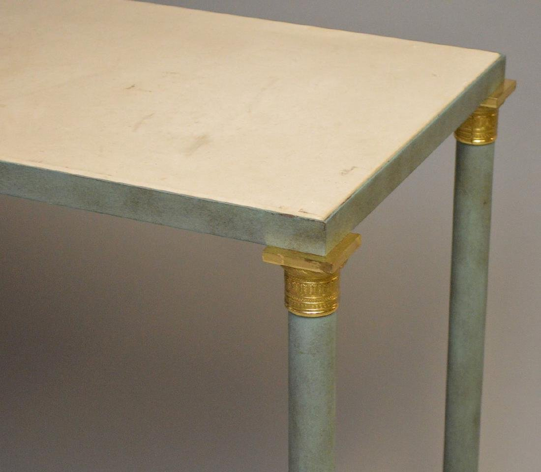 French style modern console, verdigris column legs with - 2