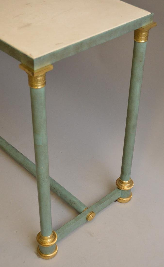 French style modern console, verdigris column legs with - 6