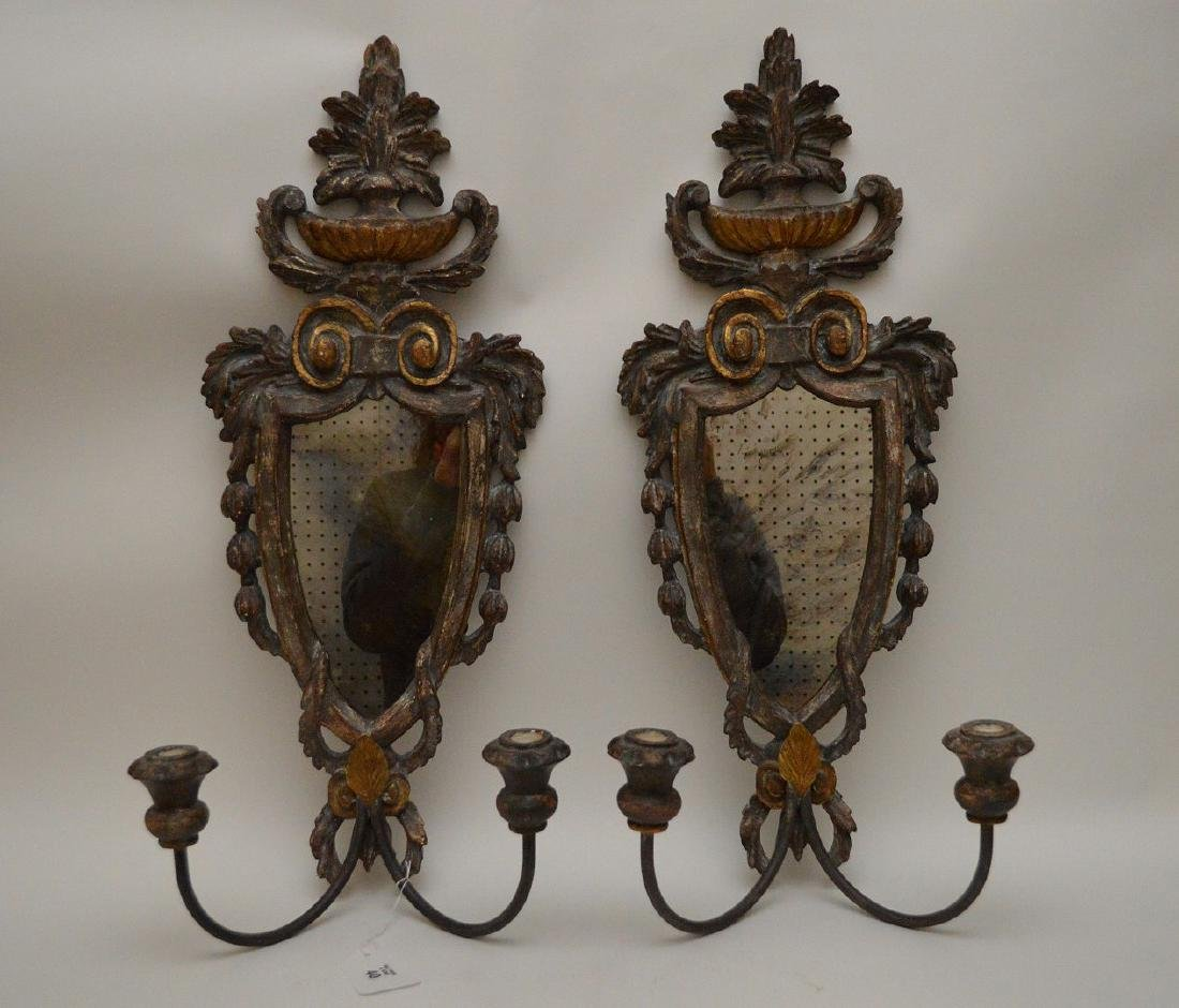 Pair carved wood mirrored double branch wall sconces,