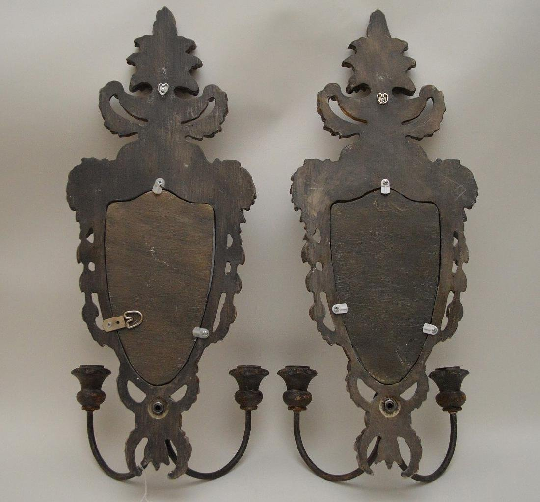Pair carved wood mirrored double branch wall sconces, - 4