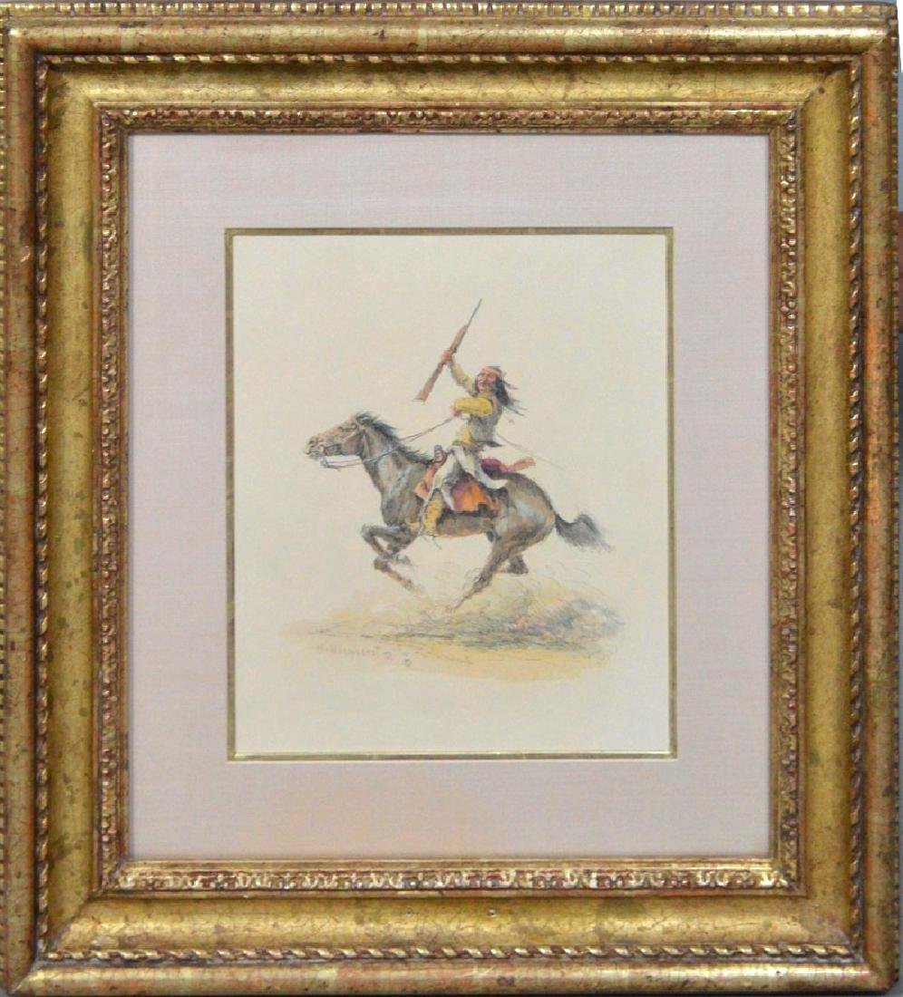 Olaf Wieghorst (1899-1988) Navajo on Horse, watercolor