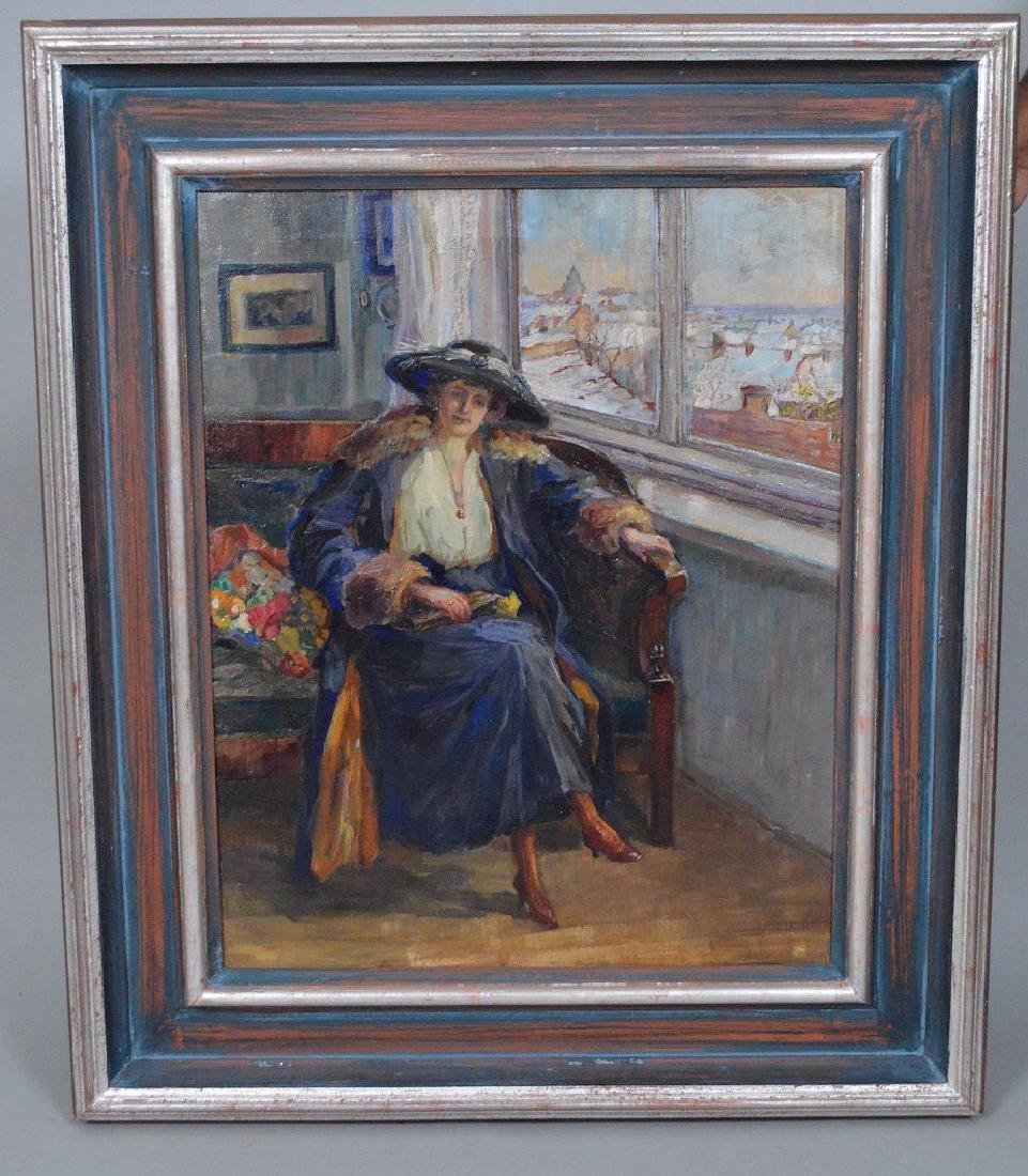 European School oil on canvas, depicting a Lady in blue