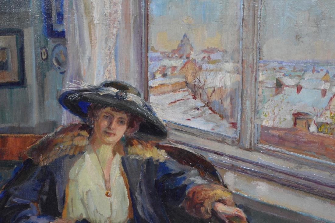 European School oil on canvas, depicting a Lady in blue - 3