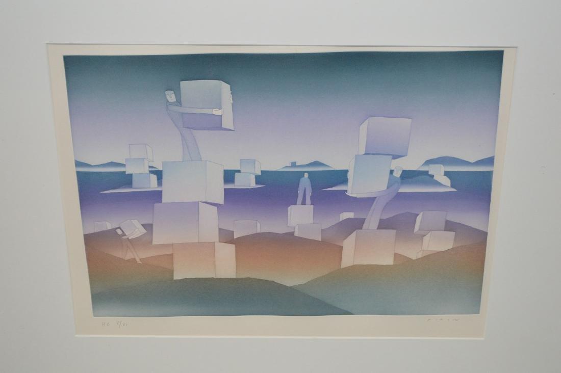 (2) Two pieces:  Jean-Michel Folon (Belgian, 1934-2005) - 6
