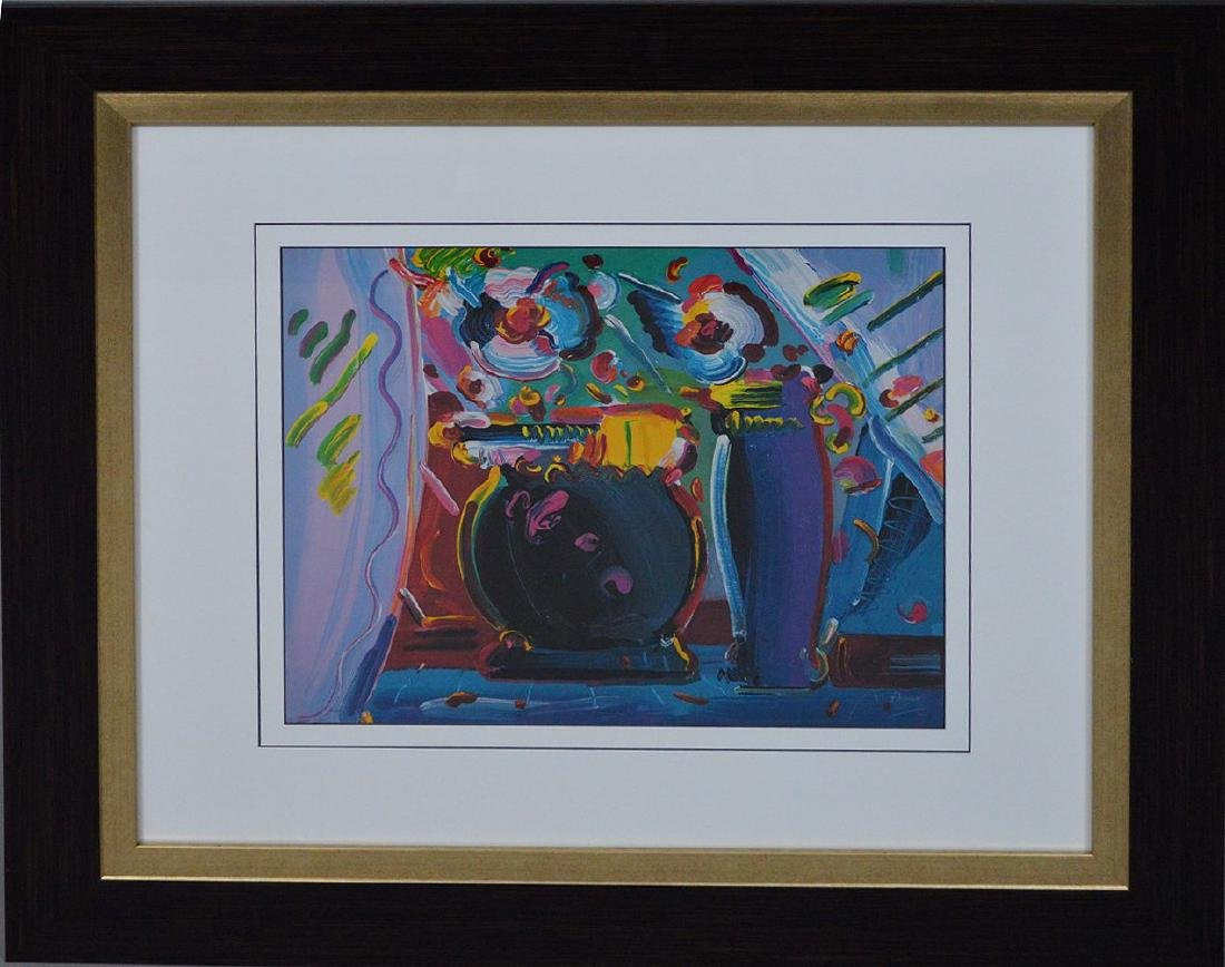 Peter Max - Lithograph Print, still life flowers and