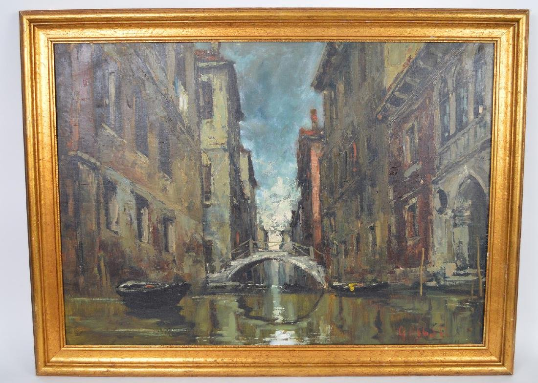 Giuseppe Abbati (Italian 1836-1868) Canal in Venice,