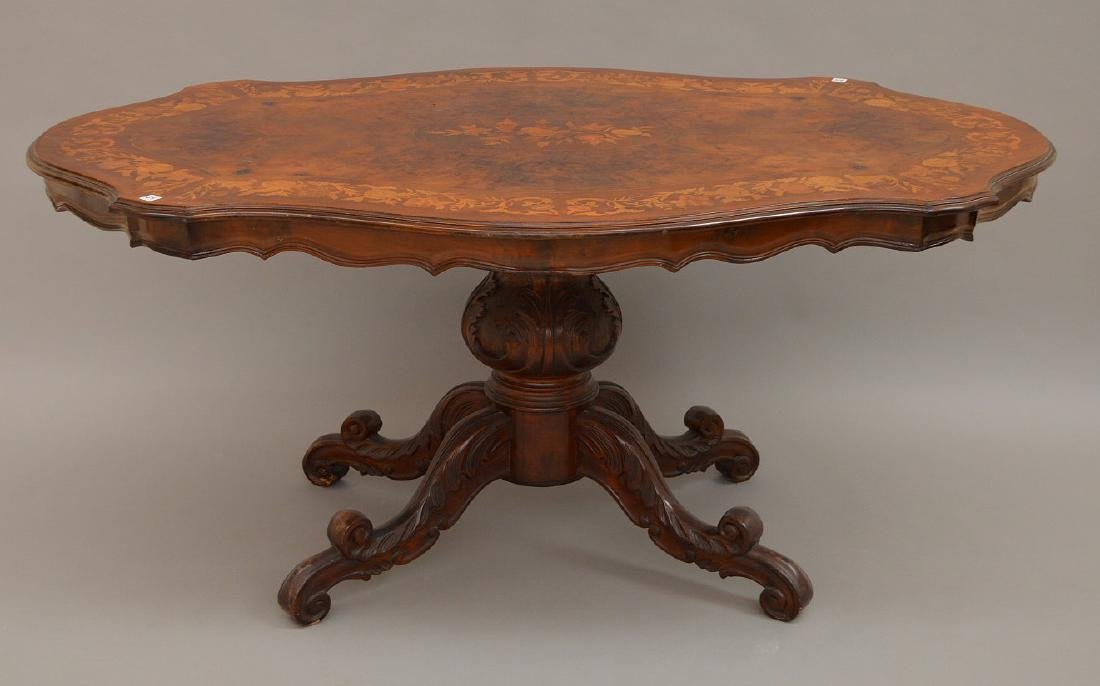 "19th c. marquetry and burled wood pedestal table, 31""h"