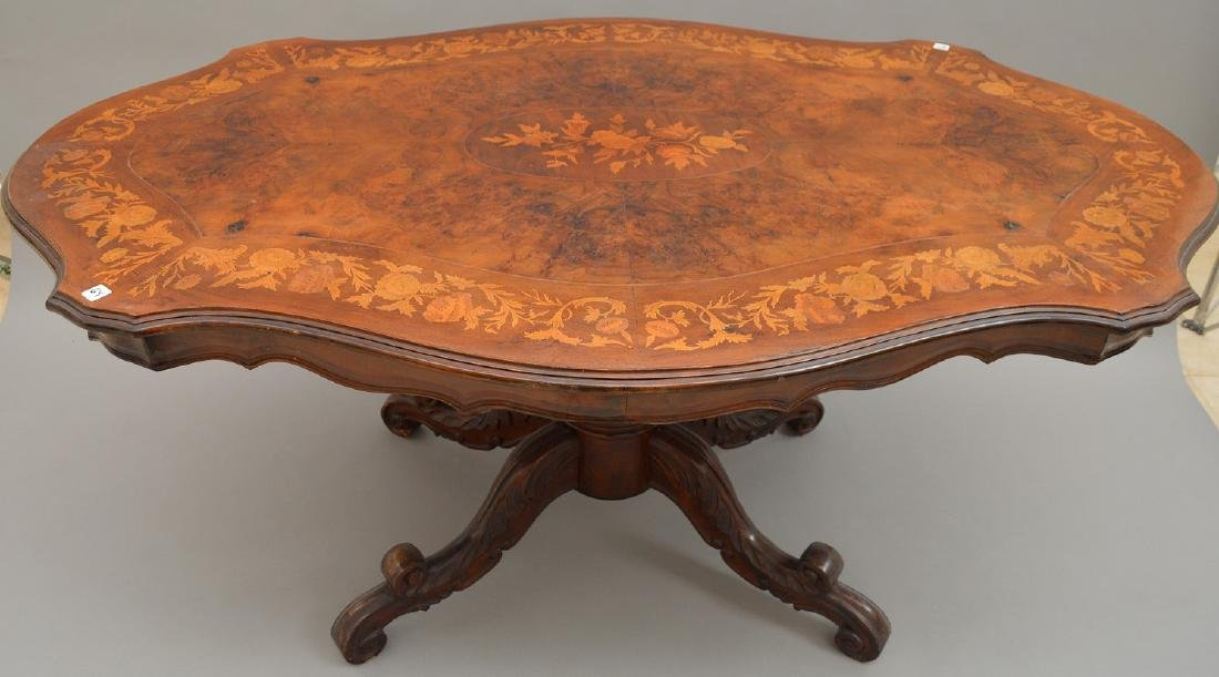"""19th c. marquetry and burled wood pedestal table, 31""""h - 4"""