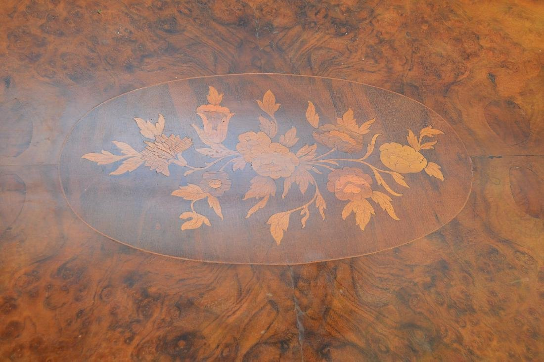 """19th c. marquetry and burled wood pedestal table, 31""""h - 5"""