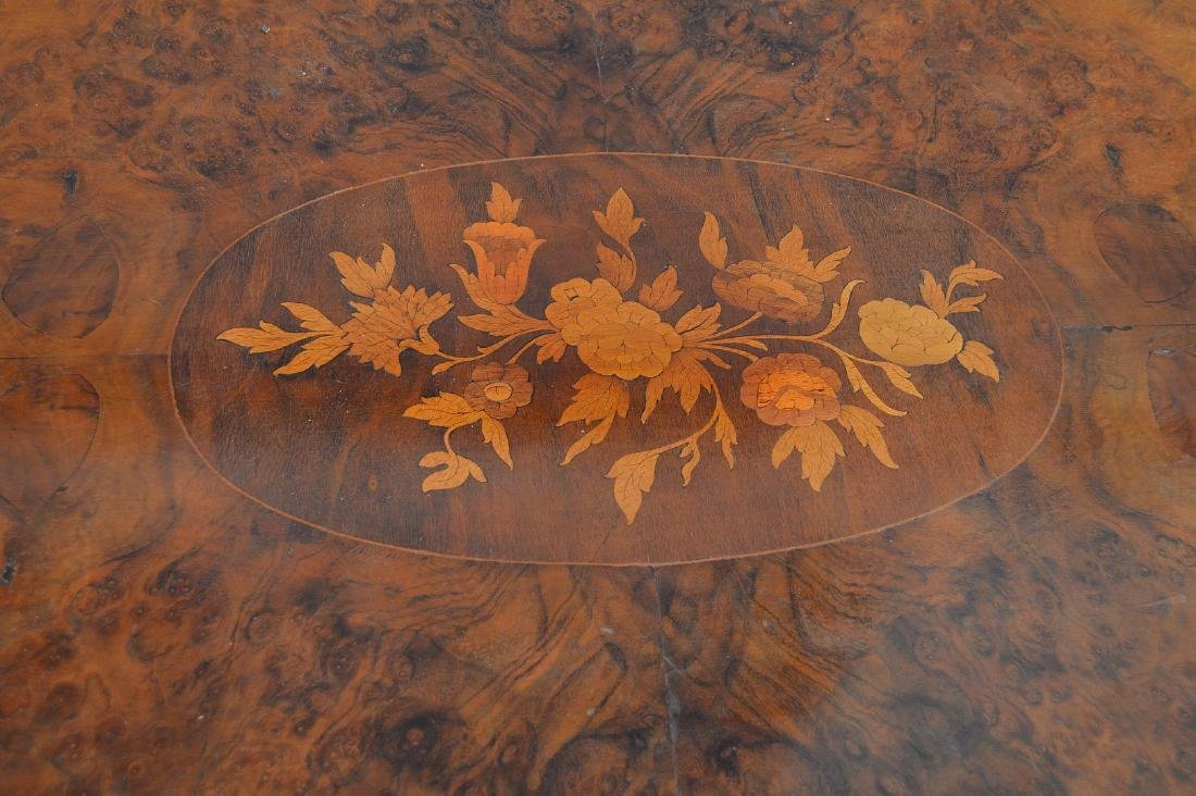 """19th c. marquetry and burled wood pedestal table, 31""""h - 6"""