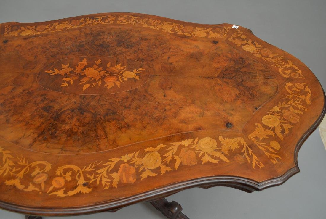 """19th c. marquetry and burled wood pedestal table, 31""""h - 7"""
