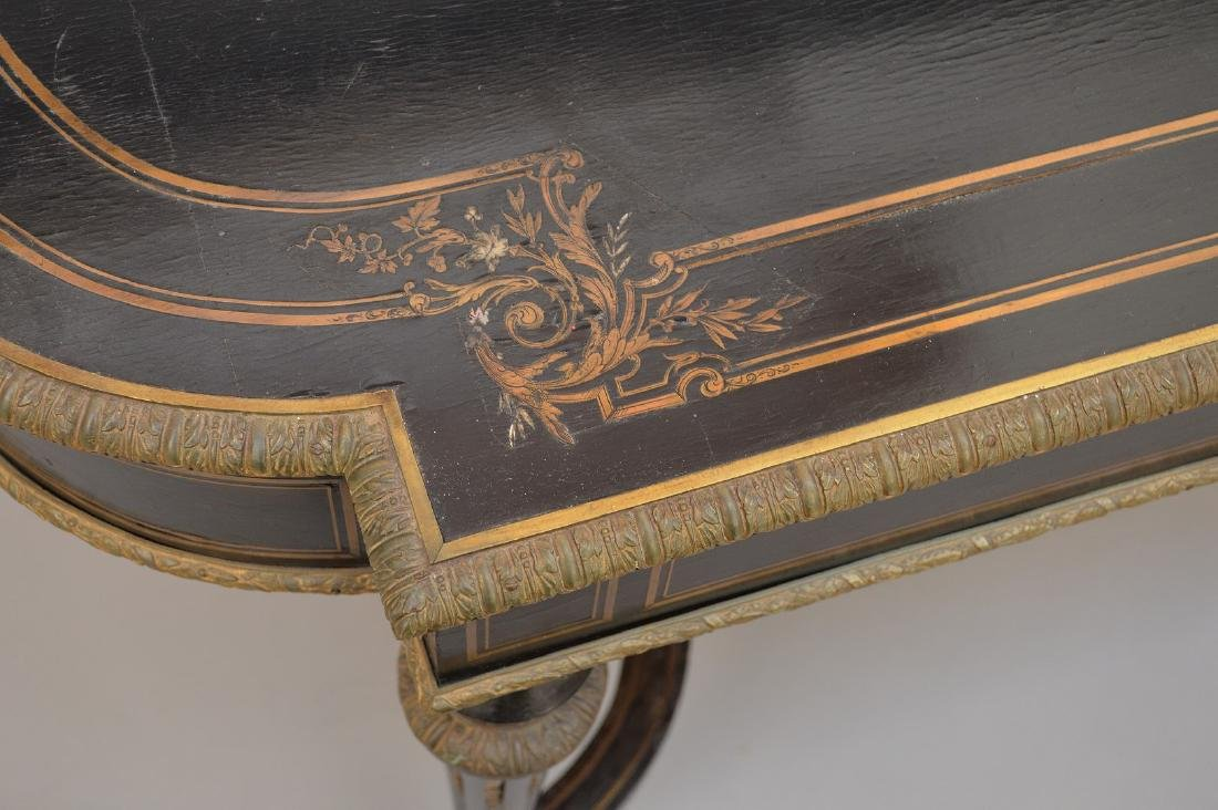 19th c. French table with bronze mounts and inlaid with - 10