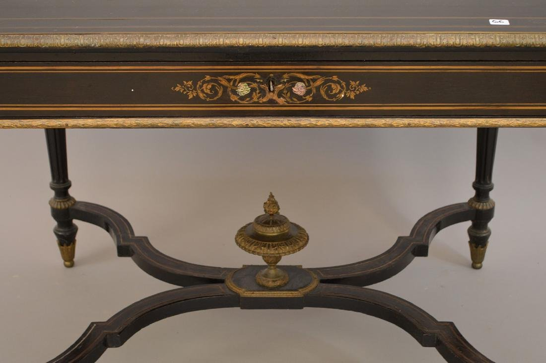 19th c. French table with bronze mounts and inlaid with - 2