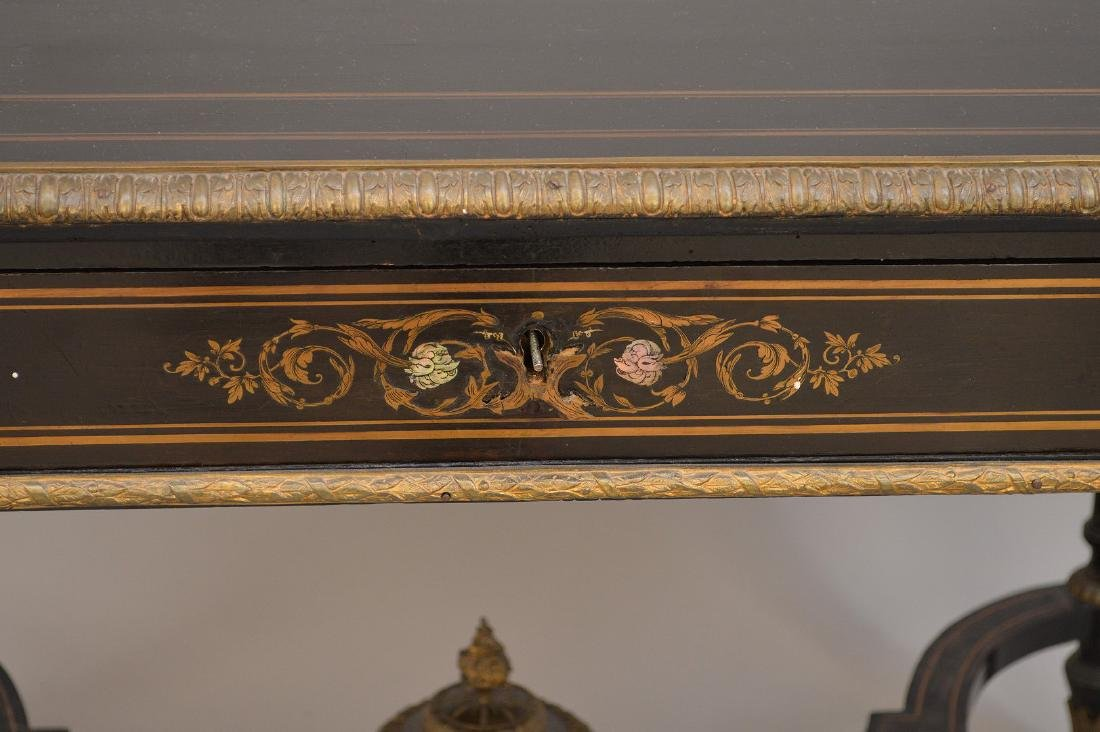 19th c. French table with bronze mounts and inlaid with - 3