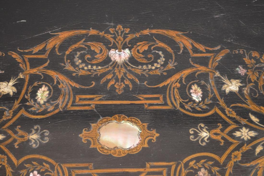 19th c. French table with bronze mounts and inlaid with - 5